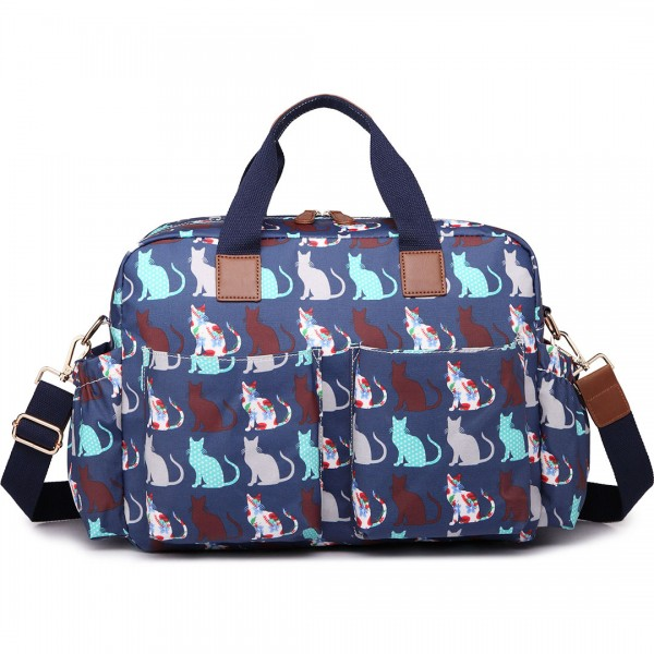 L1501CT - Miss Lulu Maternity Baby Changing Bag Cat Navy
